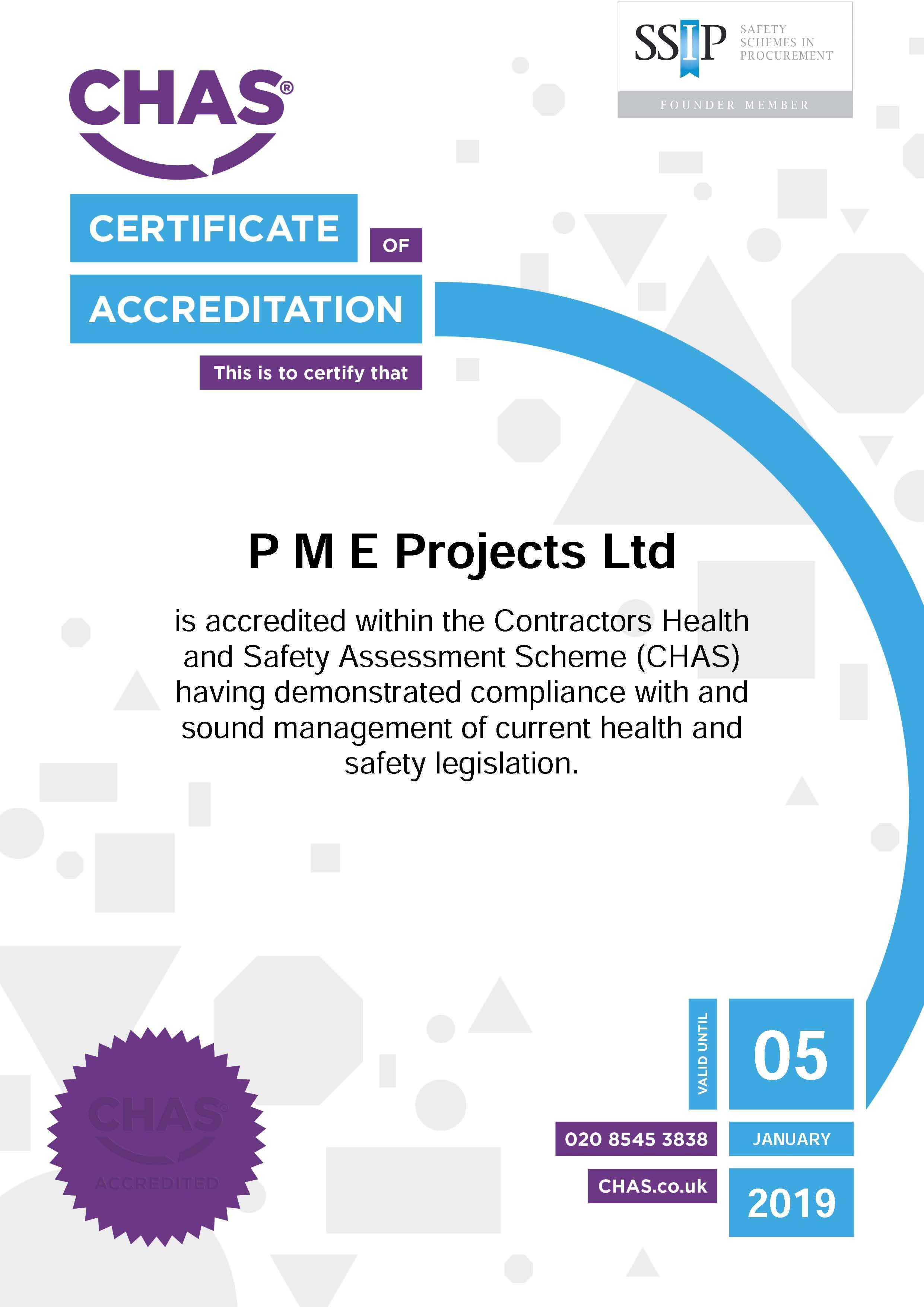 Another year of CHAS Accreditation for PME Projects
